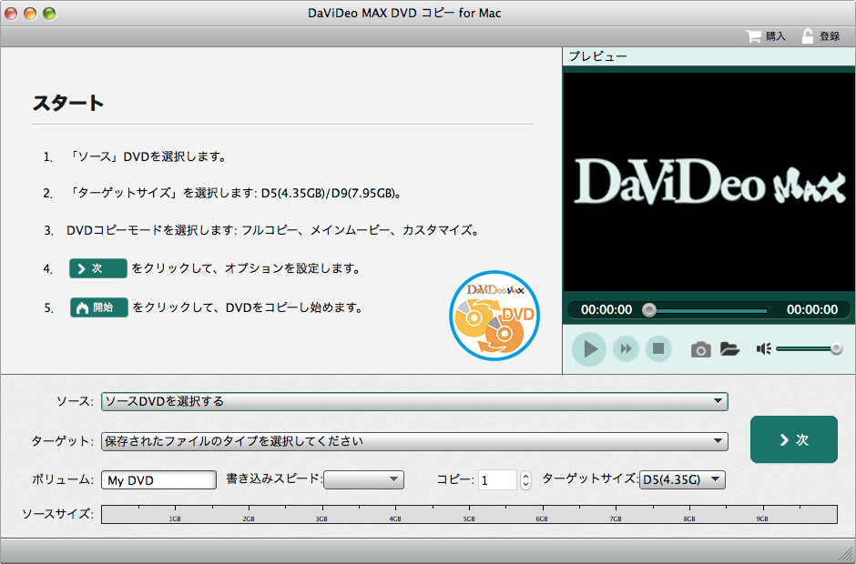 DaViDeo MAX DVDコピー for Mac